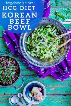 Phase 2 hCG Diet Dinner Recipe: Korean Beef Bowl with Cucumber Salad & Op. 1500 Calorie Diet, Very Low Calorie Diet, Low Carb Diet Plan, Diet Plans To Lose Weight Fast, Hcg Diet Recipes, Diet Dinner Recipes, Hcg Meals, Diet Meals, Hcg Soup