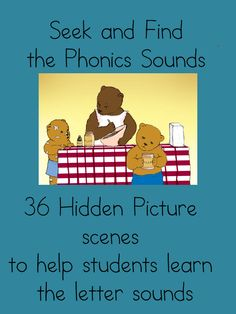 ($ Paid Product) Learn to read! SEEK AND FIND THE #PHONICS SOUNDS - 36 HIDDEN PICTURE SCENES. Students will love to to learn new sounds, and find the pictures! More resources at http://www.sightandsoundreading.com #education #kids
