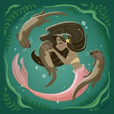 This is my actual dream. Be a mermaid and play with otters. Siren Mermaid, Mermaid Cove, Black Mermaid, Mermaid Art, The Little Mermaid, Mermaid Tails, Fantasy Mermaids, Real Mermaids, Mermaids And Mermen