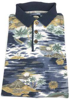 Tommy Bahama Polo Shirt Mens Size Medium Short Sleeve Beach Tropical Theme Sz M #TommyBahama #PoloRugby