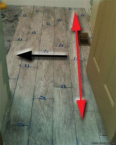 More tips, tricks, and tools for installing wood look tile flooring. More tips, trick Wood Like Tile, Wood Look Tile Floor, Wood Grain Tile, Floor Grout, Tile Floor Diy, Wood Look Tile Bathroom, Laying Tile Floor, Installing Tile Floor, Bathroom Ideas