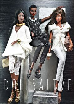 Black and White outfits African American Beauty, African American Dolls, Beautiful Barbie Dolls, Vintage Barbie Dolls, Pretty Dolls, Fashion Royalty Dolls, Fashion Dolls, Afro, African Dolls