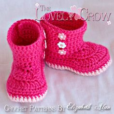Booties Crochet Pattern Boots for BABY GARDEN BOOTS by ebethalan, $5.95