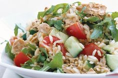 This quick and easy tuna and rice salad makes a tasty low-fat side dish or lunch-box filler.