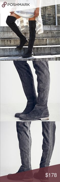 """Over The Knee Distressed Boot Euro 39.       Rugged, over-the-knee, skin tight boots with an exposed back zip and stacked wooden heel. Styling Tip: For a slouchier fit, zip the back zip to just below the knee. Handcrafted to reflect the look of an aged wear. Scuffing, marking and washed effects give this shoe its own unique characteristics. Featuring naturally vegetable tanned leather, this pair will soften and mold with each wear. Suede Heel: 1.5"""" = 3.81 cm Shaft: 25.0"""" = 63.5 cm…"""