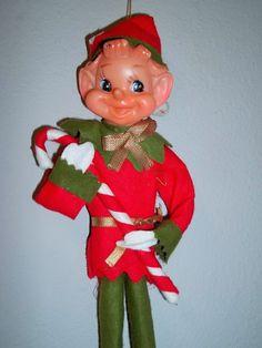 Vintage Christmas Felt Pixie Elf on a Shelf Holding Candy Cane Ornament
