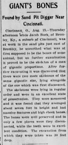 More nonsense from Fritz Zimmerman. Even if the story is true, which is doubtful, 7 ft tall doesn't constitue a giant. And besides, what happened to these gigantic skeletons??