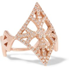 Carbon & Hyde Gemetria 14-karat rose gold diamond ring ($1,645) ❤ liked on Polyvore featuring jewelry, rings, metallic, pink gold rings, rose gold jewelry, red gold ring, diamond jewellery and 14k diamond ring