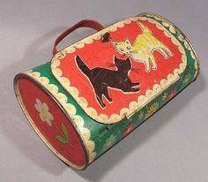 Toy Tin Box Bag Vintage Handbag Soviet Russian Old Cat Metallic