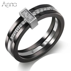A&N Unique Ceramic Rings Black & White Ceramic Layer Mezzanine Cubic Zircon Stainless Steel Rings European Fashion Party Jewelry