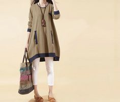 Khaki color plus size sweater dress for women in casual by Lixmee, $59.90