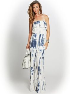 GUESS Women's Marble-Print Gauzy Strapless Maxi Dress #GUESS