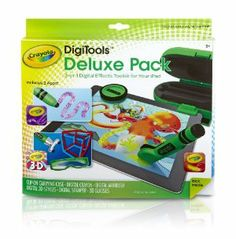 Crayola DigiTools Deluxe Creativity Pack by Crayola. $29.51. Kids get pages of background scenes and starter designs so they can express without the mess. Digital Crayon makes dazzling drawings. Contains Digital Crayon; Digital Airbrush; Digital 3D Stylus; Digital Stamper; 3D Glasses; Free Application and Custom Carrying Case. Digital Stamper for instant; animated images. Digital 3-D Stylus and 3-D Glasses give eye-popping designs. From the Manufacturer               ...