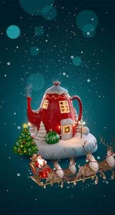 Nuit Magique 🌲 Winter Christmas Scenes, Merry Christmas Images, Christmas Love, Christmas Pictures, Beautiful Christmas, Vintage Christmas, Christmas Crafts, Christmas Decorations, Christmas Ornaments