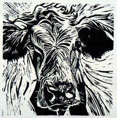 Cow 2 lino print   Flickr - Photo Sharing!