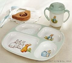 Gah, this is what I get for scoping out Easter stuff. This is adorable. Beatrix Potter Nursery Feeding Set #potterybarn