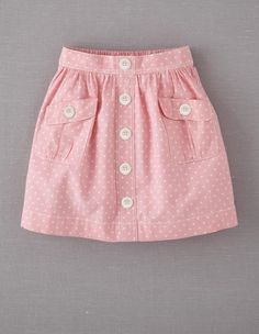 Main Image - Mini Boden 'Spotty' Chambray Skirt (Little Girls & Big Girls) Little Girl Skirts, Skirts For Kids, Little Girl Dresses, Chambray Skirt, Frocks For Girls, Kids Frocks, Baby Girl Dress Patterns, Baby Dress, Kid Outfits