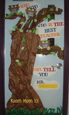 Teacher Appreciation Door Posters owl   OWL Tell You Who's the Best Teacher