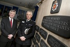 Chief Constable Sir Peter Fahy and Tony Lloyd, Police and Crime Commissioner for Greater Manchester with the Memorial.    A short ceremony took place today (17/1/13) to mark the removal of memorial plaques to fallen officers from the Force's former headquarters.    Their removal is part of the decommissioning process for Chester House, which served as GMP's base for 33 years and is due to be closed down.  www.gmp.police.uk