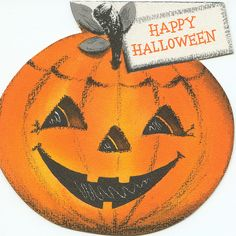 "Vintage Halloween Card ~ ""Happy Halloween"" Jack O' Lantern"