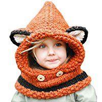 SevenPanda Winter Wolle Gestrickte Hüte Schals Kapuze Mönchskutte Beanie Mützen für Kinder Junge Baby Mädchen Schalmütze Mütze Wolleschal Warme Earflap Fox Cap - Orange