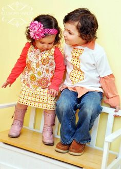 Matching Brother/Sister Set - Tie Shirt & Pillowcase Dress My babies need these. Matching Outfits, Matching Set, Sibling Shirts, Chic Baby, Girls Wardrobe, Brother Sister, Have Time, Clothing Patterns, Baby Love