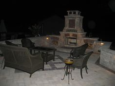 www.groundaffectslandscaping.com  Built in Fireplace, patio and walls Outdoor Furniture Sets, Outdoor Decor, Landscaping, Walls, Patio, Building, Home Decor, Decoration Home, Room Decor