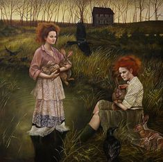 Marsh Hare - Painting by Andrea Kowch