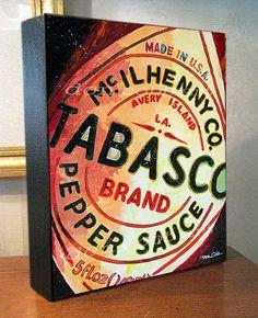 "Kitchen Decor 11x14x1.5"" Tabasco Hot Sauce Art Gallery Wrap Canvas Print"
