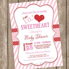 Printable Little Sweetheart Baby Shower Invitation  ValentineS