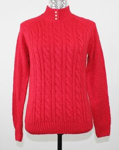 Karen Scott Sweater Size XS Cable Knit Red Mock Turtle Neck Chunky Acrylic NWOT #KarenScott #TurtleneckMock