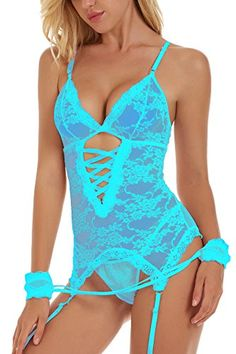 Unilove Bodysuit Lingerie for  Women  Sexy Corset with Straps Lace Babydoll  Chemise (S 7431af494