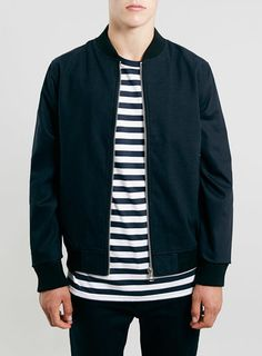 NAVY DOGTOOTH BOMBER jacket