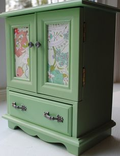 Vintage Jewelry Box Armoire, Music Box, In A Pistachio Green With Satin Finish…