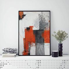 """Modern geometrical wall art, colorful framed contemporary wall or desk decor. 24 cm x 32 cm / 9.5"""" x 12.6"""". Minimalist, contemporary, abstract. It will be a wonderful decoration for your home or office and a great gift for your friends and family. Fiery red, orange, gray, yellow, black, white, charcoal, inks, pastels. High quality acrylic paints, charcoal, pastels, acrylic inks and different mediums on high quality Fabriano paper (350 gr)."""