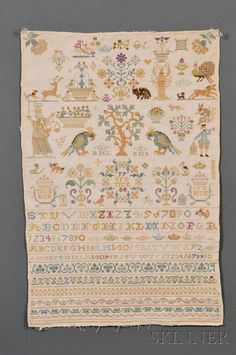 Needlework Sampler, probably England, 1788, stitched with silk threads on a linen ground   Skinner Auctioneers