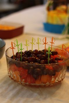 Pirate Food - Cannonball Fruit (Watermelon and Cantaloupe balls and grapes)