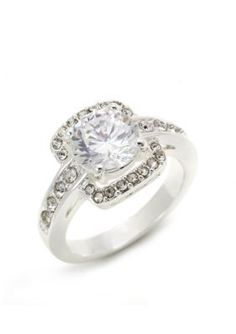New Directions  Silver-Tone Cubic Zirconia and Crystal Pave Boxed Ring