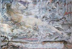 David Jones (British, The Lee Shore 38 x 57 cm. x 22 in.) (Painted in Tate Gallery, Irish Art, Bond Street, White Cats, Visionary Art, Life Drawing, David Jones, Color Theory, Vintage World Maps