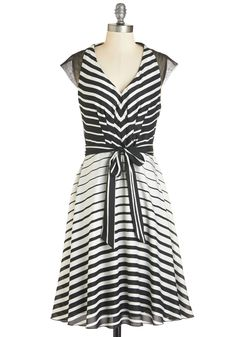 Illusion My Mind Dress - Long, Knit, Black, White, Stripes, Belted, Daytime Party, A-line, Cap Sleeves