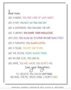 Birthday presents for mom from daughter diy life 68 Ideas Mother Birthday Presents, Birthday Wishes For Mom, Birthday Quotes For Daughter, Dad Birthday Card, Boyfriend Birthday, Happy Birthday, Birthday Nails, Daughter Poems, Birthday Bash