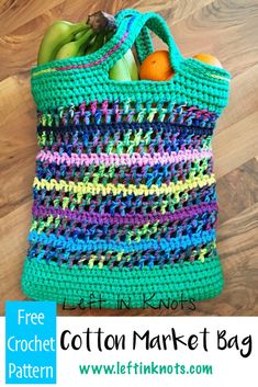 Double strands of cotton yarn make this free crochet pattern work up easily and quickly!  This market bag is perfect for your groceries or trips to the local farmer's market. #crochet #freecrochetpattern #marketbag #farmersmarket