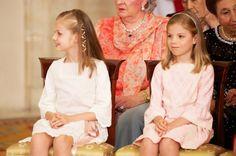 The two Spanish Infantas at their grandfather, King Juan Carlos I's formal abdication