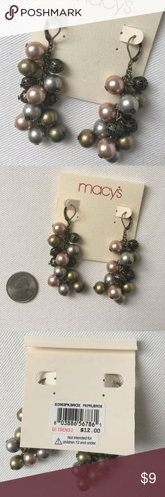 """NWT Pink, Gold, Silver and Brass Drop Earrings Pink, gold and silver pearl drop earrings with brass orbs from Macy's. NWT. Length (from clasp): 2.25"""". Price firm. Macy's Jewelry Earrings"""