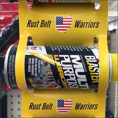 Colored to match the cap, this Rust Belt Warriors Spray Can Strip Merchandiser is both high-visibility and fully branded. A Multipurpose Lubricant. Foamcore, Rust Belt, Spray Can, Close Up, Warriors, Surface, Retail, Concept, Canning
