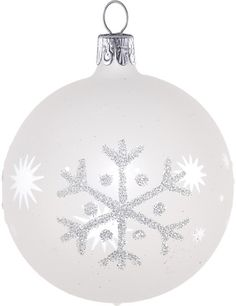 David Jones - Christmas Shop White Bauble With Silver Snowflakes