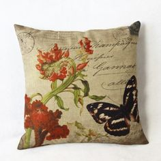 7.45$  Watch now - http://dip5g.justgood.pw/go.php?t=152285402 - Natural Butterfly Pattern Linen Decorative Pillow Cover (Without Pillow Inner) 7.45$