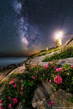Rising Moon and Milky Way Glow Above Maine Lighthouse (Photo)