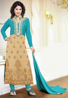Detailed with applique work, mirror effect, resham and zari   Enhanced with floral and ornamental motifs Available with a shantoon straight pant and a faux chiffon dupatta in turquoise Semi stitched suit is available with poly shantoon lining