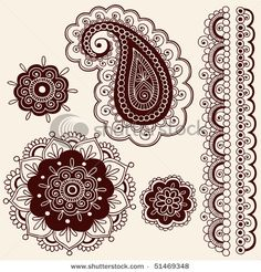 hand-drawn abstract henna mehndi flowers and paisley doodle from shutterstock.com